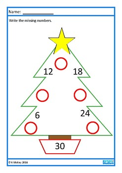 Christmas Times Tables Missing Numbers Worksheets, Autism, Special Education