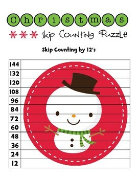 Christmas Skip Counting Puzzles - Numbers 2 to 12