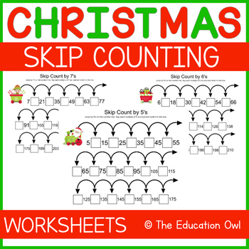 Christmas Skip Counting Worksheets 5-12