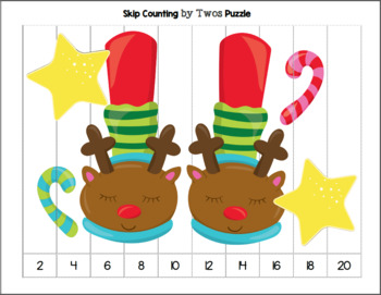 Christmas Slippers - Skip Counting by TWOs