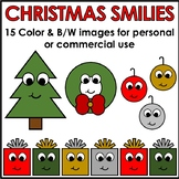 Christmas Smilies Clipart Color & BW Personal or Commercial Use