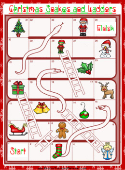 Christmas Snakes and Ladders Worksheet | Free/Freebie