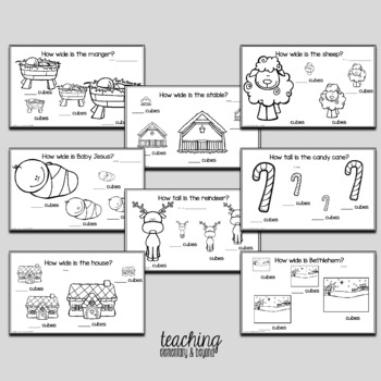 Christmas Kindergarten Measurement Activities with Snap Cubes