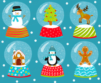 Christmas Snow Globe Digital Clipart Cute Kids Clipart