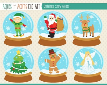 Christmas Snow Globes Clip Art - color and outlines