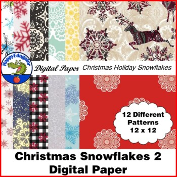 Christmas Snowflake Backgrounds 2 Digital Paper