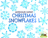 Christmas Snowflakes 1 Watercolor Clipart   Instant Downlo