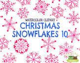 Christmas Snowflakes 10 Watercolor Clipart   Instant Downl