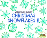 Christmas Snowflakes 11 Watercolor Clipart   Instant Downl