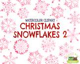 Christmas Snowflakes 2 Watercolor Clipart   Instant Downlo