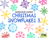 Christmas Snowflakes 3 Watercolor Clipart   Instant Downlo