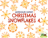 Christmas Snowflakes 4 Watercolor Clipart   Instant Downlo