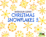 Christmas Snowflakes 5 Watercolor Clipart   Instant Downlo