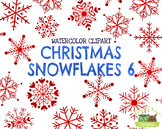 Christmas Snowflakes 6 Watercolor Clipart   Instant Downlo