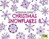 Christmas Snowflakes 8 Watercolor Clipart   Instant Downlo