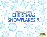 Christmas Snowflakes 9 Watercolor Clipart   Instant Downlo