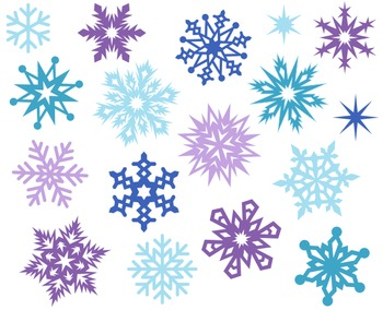 Christmas Snowflakes Decoration Cute Digital Clipart, Xmas Clipart