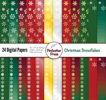 Christmas Snowflakes Digital Papers - 8.5x11