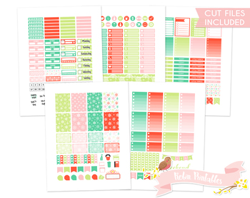 Christmas Snowflakes Printable Weekly Planner kit Stickers fits Erin Condren