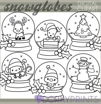 Christmas Snowglobes Blackline Clip Art