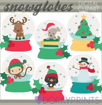 Christmas Snowglobes Clip Art