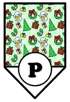 Christmas, Snowman, Bulletin Board Pennant Letters, Classroom Décor A-Z, 0-9