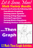 Let it Snow, Man! - Math Variety Bundle - 12 Math-Then-Graph Activities