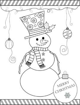 Christmas Snowman Coloring Sheet