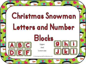 Christmas Snowman Letters and Number Blocks