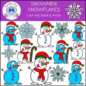 Christmas Snowman & Snowflake Clip Art