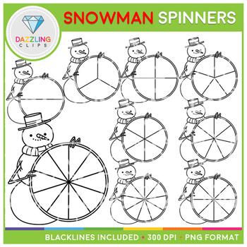 Christmas Snowman Spinners Clip Art
