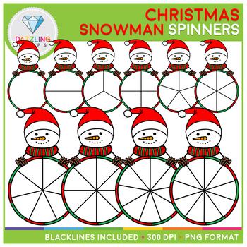 Christmas Snowman Spinners Clip Art Set II