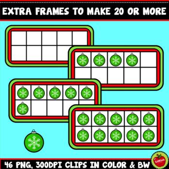 Christmas Snowman Ten Frames Clipart