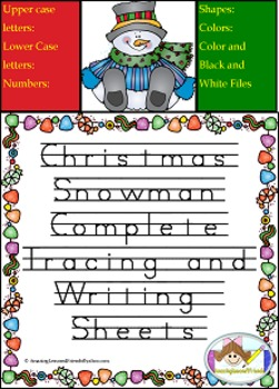Christmas Snowman Tracing and Writing Mats and Sheets