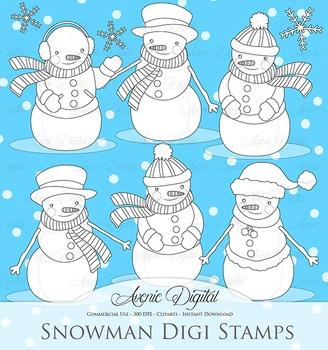 Christmas Snowman digital stamp - lineart clip art - clipart