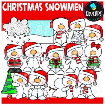 Christmas Snowmen Clip Art Bundle {Educlips Clipart}