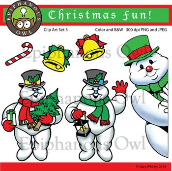 Christmas Snowmen Clip Art Set 3