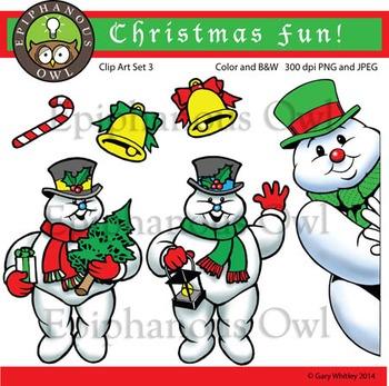 Christmas Snowmen Clip Art Set 3