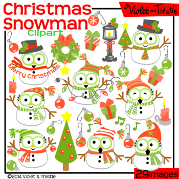 Christmas Snowmen Clipart SALE! Red and Green Christmas Clip Art