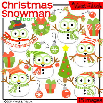 Christmas Snowmen Clipart Red and Green Set 2 Red and Green Christmas Clip Art