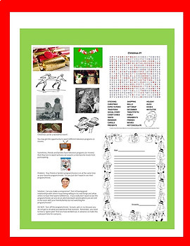 Christmas Social Story Transition Age SPED Students Autism/ODD/ID/ELL
