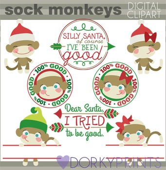 Christmas Sock Monkeys Clip Art