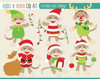 Christmas Sock Monkeys Clip Art - color and outlines