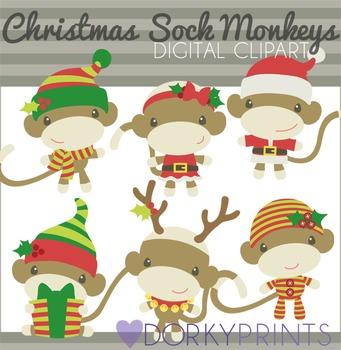 Christmas Sock Monkeys Digital Clip Art