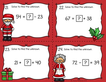 Christmas Math Game -  Solve for an Unknown