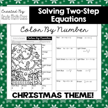 Christmas - Solving Two Step Equations Coloring Activity