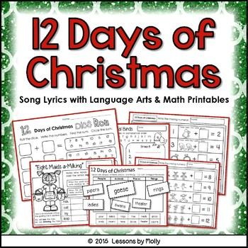 12 Days of Christmas Song - Math and Language Arts Integration   TpT