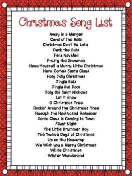 Christmas Music Activities:  Christmas Song Bingo