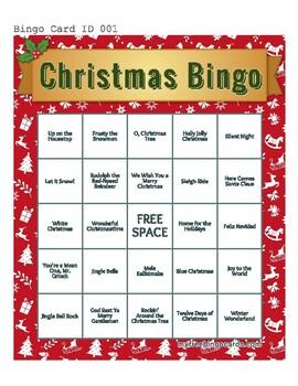 Christmas Song Bingo