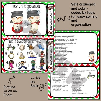 Christmas Song Cards for Circle Time PreK or Kinder